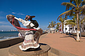 Puerto Vallarta, Mexico, malecon, statue, Mexican, dancers, promenade, town, resort, sea, waterfront, Jalisco, people, horizontal
