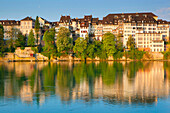 Basel, Switzerland, Europe, canton, Basel, city, town, city, Old Town, houses, homes, river, flow, Rhine, morning light, reflection