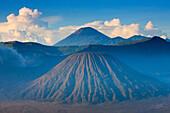 Semeru, Indonesia, Asia, Java, mountains, volcanoes, volcanism, geology, smoke, cinder, clouds, morning light