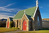 St James Anglican church, built 1872, Roxburgh, late afternoon, winter, Central Otago, South Island, New Zealand