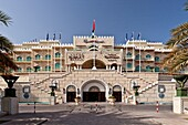 Exterior front entrance to the Grand Hyatt Hotel in Muscat, Oman