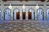 Decorative chandelier with ceiling detail in the prayer room of the Grand Mosque in Muscat, Oman