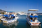 Fishing boats on the Malecon, Acapulco City, State of Guerrero, Mexico, North America
