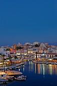 Lake Voulismeni in Agios Nikolaos at night  Crete, Greece