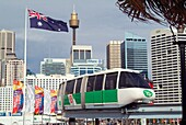 The Sydney monorail transport system crossing Pyrmont Bridge into Darling Harbour