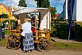 Medieval almond stall during folk music festival in Viljandi Estonia Europe