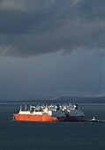 LNG tanker SHIPPING TRANSPORT Excelsior and Excalibur worlds first ship transfer of liquid gas Scapa Flow