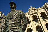France. Toulon. Statue of the french actor Jules Muraire (1883 - 1946) aka Raimu, stands outside the Theatre Municipal on Place Victor Hugo.