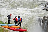 Neil Gibby, Ted Keyes and Jim Grossman scouting Star Falls on the Murtaugh section of The Snake River near the town of Murtaugh in southern Idaho