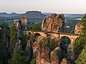 Elbe Sandstone Mountains (Elbsandsteingebirge) in the National Park Saxon Switzerland (Saechsische Schweiz). The famous Bastei Bridge and the Bastei rock formations. Europe, central europe, germany, saxony, June.
