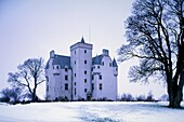 Scottish baronial style Leslie Castle, northwest of Aberdeen in the Grampian Highlands, Scotland, dates from the 14 Century