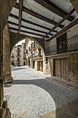 Calaceite village, A fantastic mediaeval architecture with building and narrow streets, Matarraña, Teruel, Aragón.