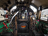 Detail of the controls of a vintage steam engine locomotive, North Yorkshire Moors Railway, on the North Yorkshire Moors, Yorkshire, UK.