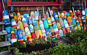 Colorful buoys lined up outside a storefront in Bradley Wharf at Rockport, Massachusetts.