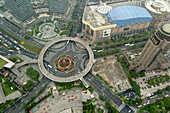 Aerial view of an innovative circular pedestrian bridge in the Pudong District of Shanghai, China.