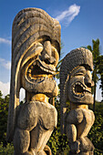Tikis (ki'i) at Pu'uhonua O Honaunau (City of Refuge) National Historic Park, Kona Coast, Hawaii USA.