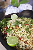 Close-up shot of Thai rice, Bodrum, Mugla, Aegean Sea, Turkish Riviera, Turkey, Europe.