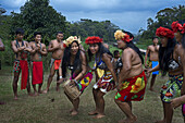 Music and dancing in the village of the Native Indian Embera Tribe, Embera Village, Panama. Panama Embera people Indian Village Indigenous Indio indios natives Native americans locals local Parque National Chagres. Embera Drua. Embera Drua is located on t