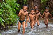 Indonesian children playing in the water, Tetebatu, Lombok, Indonesia