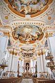 Monastry church with ceiling fresco, Wiblingen Monastry, Ulm at Danube River, Swabian Alb, Baden-Wuerttemberg, Germany