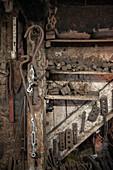 Blacksmiths workshop with miscellaneous tools, Vellberg, Schwaebisch Hall, Baden-Wuerttemberg, Germany