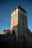 watch tower leading to the center of Vellberg, Schwaebisch Hall, Baden-Wuerttemberg, Germany