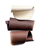Three different types of chocolate shavings, Chocolate
