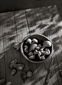 Porcini mushrooms in a bowl on a table, Food, Nutrition