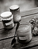 Three jars of honey on a table, forest honey, Food, Nutrition