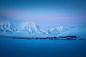 Longyearbyenat dawn, Spitzbergen, Svalbard, Norway