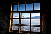 Arctic sea with ice at Spitzbergen through a window, Spitzbergen, Svalbard, Norway
