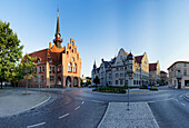 Town Centre in Nauen with the City Hall and District Office, Nauen, Brandenburg, Germany