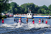 Ferry Celebration in Caputh, Water-Skiing and Wakeboard Demonstrations on the Caputher Gemuende of the Havel, Municipality Schwielowsee, Brandenburg, Germany