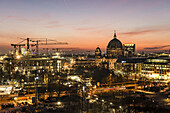 View at sunset from Alexanderplatz towards Berlin Cathedral, Berliner Dom, Berlin, Germany
