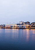 view over the Binnenalster to Jungfernstieg at dusk at Christmas, Hamburg, Germany