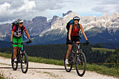two mountain bikers, Trentino Italy