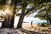 A woman doing yoga in the morning at the camp ground of Apple Tree Bay, Abel Tasman National Park, South Island, New Zealand