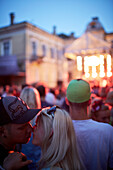 Kiss at a concert, summer fest in the garden of Piens (Milk Club), Briana Iela 9, Riga, Latvia