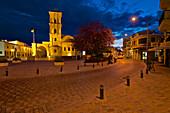 Illuminated Saint Lazarus church after sunset, Larnaca District, Cyprus