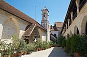 View into the yard of Chrysoroyiatissa Monastery in Pano Panagia, Troodos mountains, Cyprus