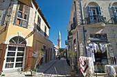 lane with minaret and shop in Limassol, Limassol District, Cyprus