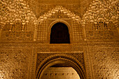 Fine Moorish wall Dekorations in the Nasrid palace in the Alhambra, night visit, Granada, Andalusia, Spain, Europe
