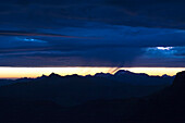 Low layer of clouds over the summits before sunrise, from left to right, Hinderi Spillgerte, Giferspitz, Ladholzhore and Albristhorn, Bernese Alps, canton of Bern, Switzerland