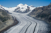The Great Aletsch Glacier with the peaks of Moench, Trugberg and Eiger, from left to right, Bernese Alps, canton of Valais, Switzerland