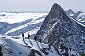 Mountaineers in a rope team, carrying their touring skis on their backspacks, ascending an exposed snow and rock ridge, south ridge of Hinteres Fiescherhorn, behind them the summit of Grosses Gruenhorn, Bernese Alps, canton of Valais, Switzerland