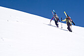 A female and a male mountaineer carrying their touring skis on their backpacks and ascending a steep snow slope, summit of Roccia Nera, Breithorn massif, Pennine Alps, canton of Valais and region of Aosta Valley, national border of Switzerland and Italy