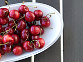 Red cherries on a porcelain plate, Mallorca, Spain