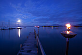 Pier in moonlight, Gstadt am Chiemsee, Upper Bavaria, Germany