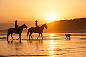 Two young women horse-riding along beach, Algarve, Portugal