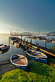 Morning light in Gstadt harbour, Gstadt, Chiemsee, Bavaria, Germany